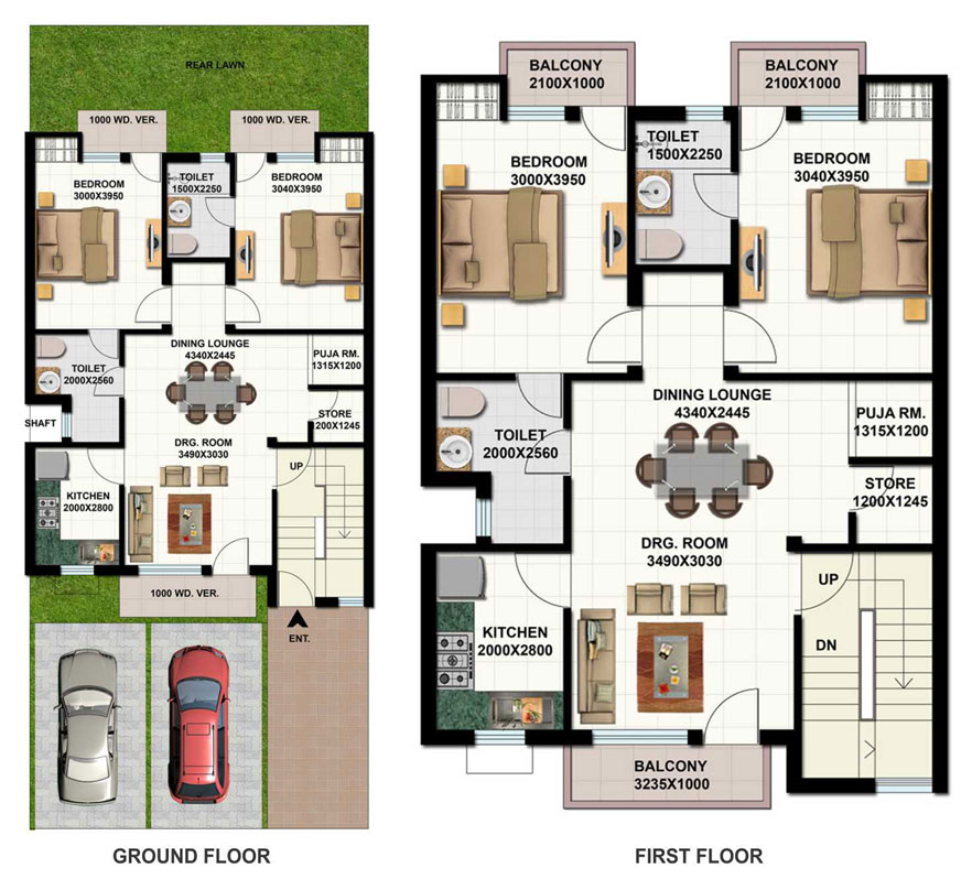 Ansal housing for 2 bedroom ground floor plan