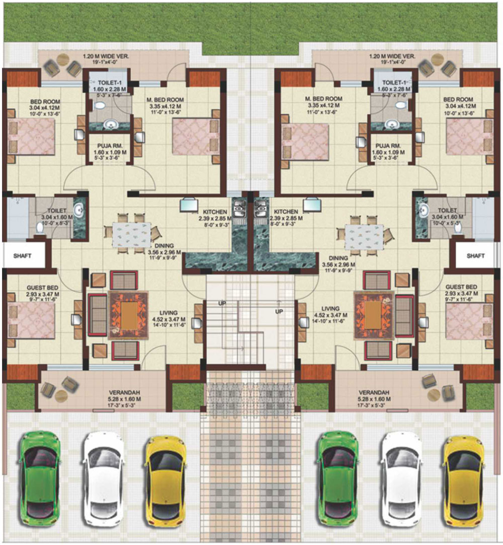 Unit plan of g 2 ground floor plan 3 bedroom unit saleable area 1410 sq ft
