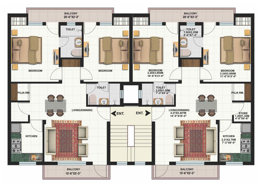 2 unit home plans home design and style for Two unit apartment plans
